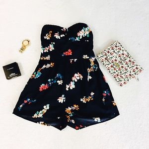 American Eagle Outfitters blue floral romper.